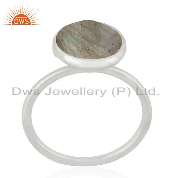 Exporter 925 Sterling Silver Labradorite Gemstone Stackable Ring Manufacturer India