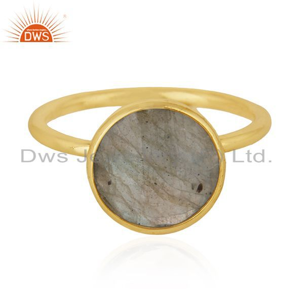 Exporter Labradorite Gemstone 925 Sterling Silver Gold Plated Stackable Ring Manufacturer