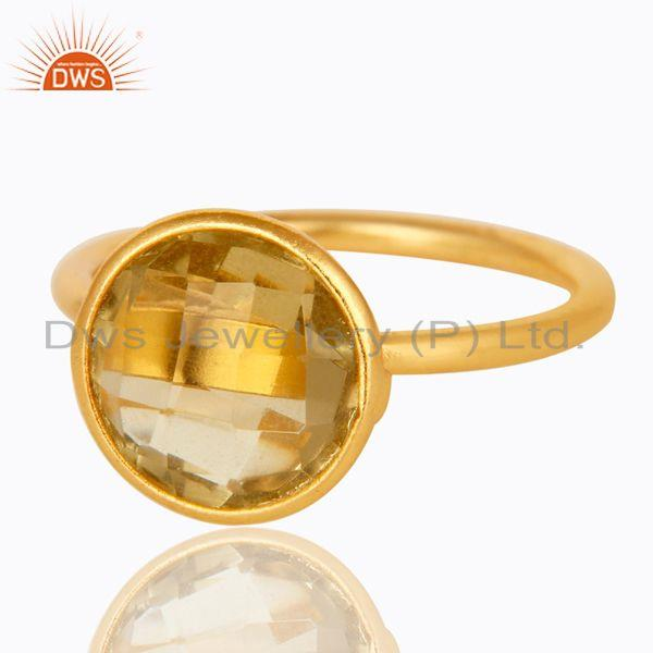 Exporter 18K Yellow Gold Plated Sterling Silver Lemon Topaz Gemstone Stacking Ring