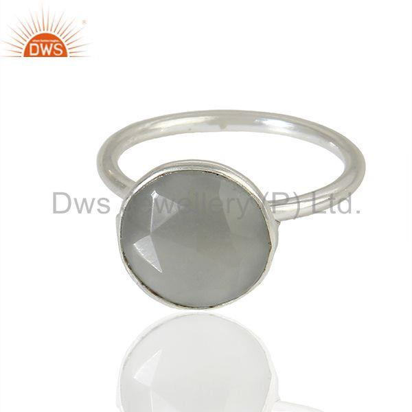 Exporter Moonstone 925 Silver Bezel Set Gemstone Rings wholesale Jewelry