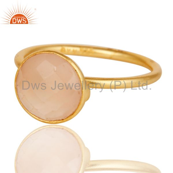 Exporter 22K Yellow Gold Plated Sterling Silver Chalcedony Gemstone Stacking Ring