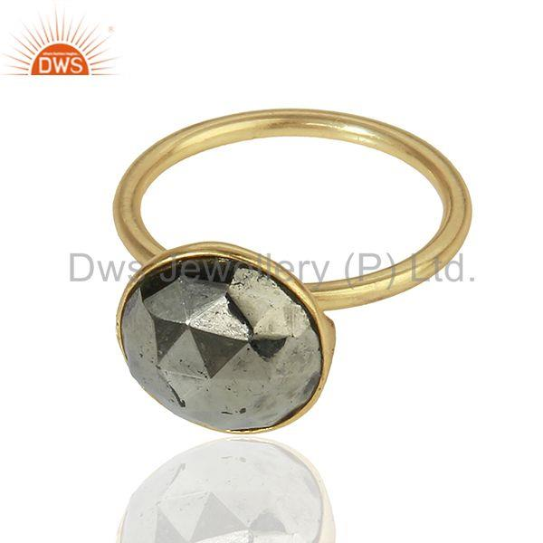Exporter Pyrite Gemstone Gold Plated Designer Girls Rings Jewelry Manufacturer