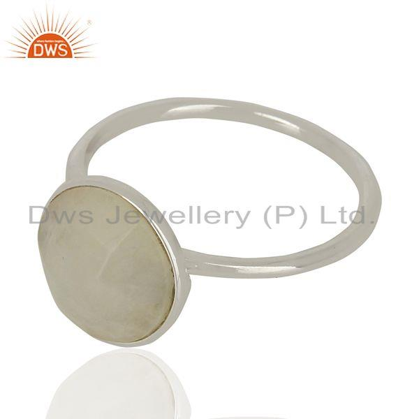 Exporter Rainbow Moonstone 925 Sterling Fine Silver Gemstone Ring Jewelry