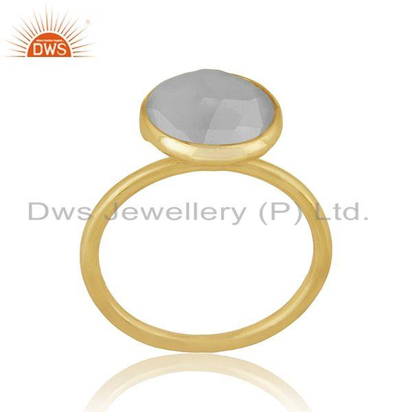 Exporter Rainbow Moonstone Gemstone Gold Plated Silver Ring For Womens