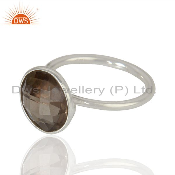 Exporter 925 Sterling Fine Silver Smoky Quartz Gemstone Rings Jewelry Supplier