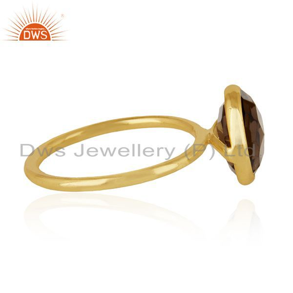 Exporter Smoky Quartz 925 Sterling Silver Gold Plated Ring Manufacturer Wedding Jewelry