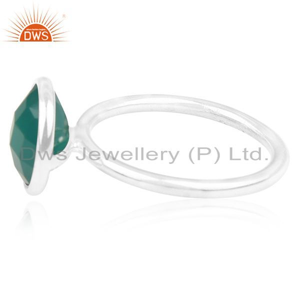 Exporter Green Onyx Gemstone 925 Sterling Silver Ring Wholesale Suppliers