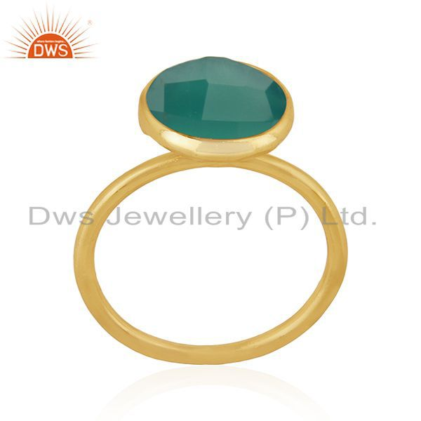 Exporter Green Onyx Gemstone 925 Sterling Silver Gold Plated Stackable Ring Manufacturers