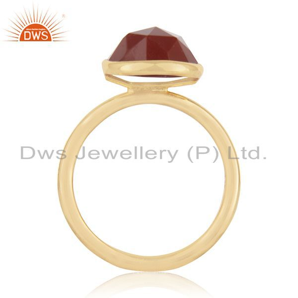 Exporter Red Onyx Gemstone Gold Plated 925 Silver Ring Jewelry Manufacturer for Brands