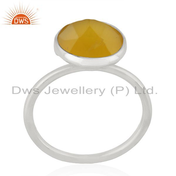 Exporter Yellow Chalcedony Gemstone 925 Sterling Fine Silver Ring Manufacturer of Rings