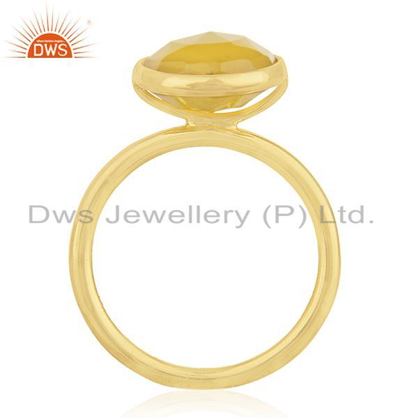 Exporter Yellow Chalcedony Gemstone Gold Plated Sterling Silver Ring Manufacturers