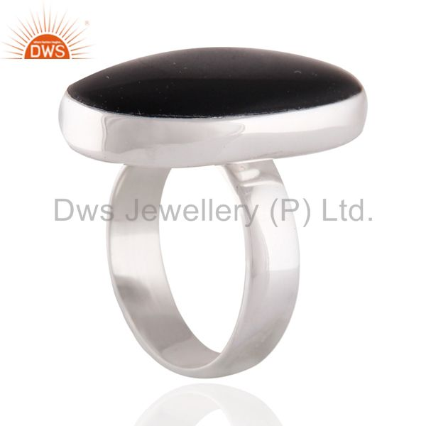 Exporter Indian Handmade Solid Sterling SIlver Black Onyx Gemstone Ring SZ 8