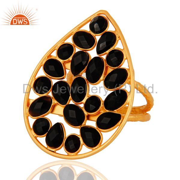 Exporter Natural Black Onyx Gemstone Ring Set In 18K Yellow Gold Over Sterling Silver