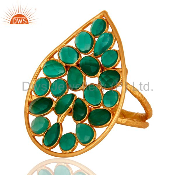 Exporter 24K Yellow Gold Plated Sterling Silver Green Onyx Gemstone Fashion Ring