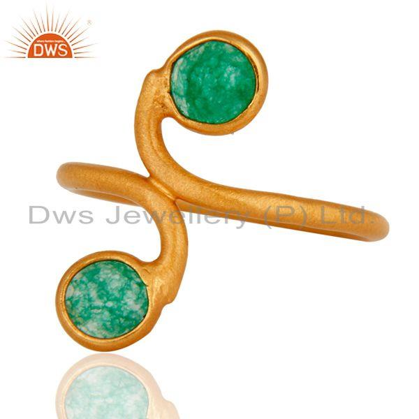 Exporter 18K Yellow Gold Plated 925 Sterling Silver Green Aventurine Gemstone Ring