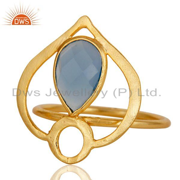 Exporter 18K Gold Plated Sterling Silver Blue Chalcedony Art Deco Statement Ring