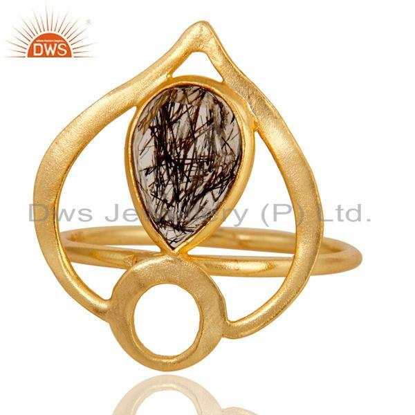 Exporter 18K Gold Plated Sterling Silver Black Rutile Art Deco Statement Ring
