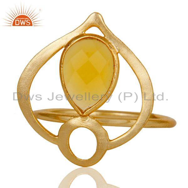 Exporter 18K Gold Plated Sterling Silver Yellow Chalcedony Art Deco Statement Ring
