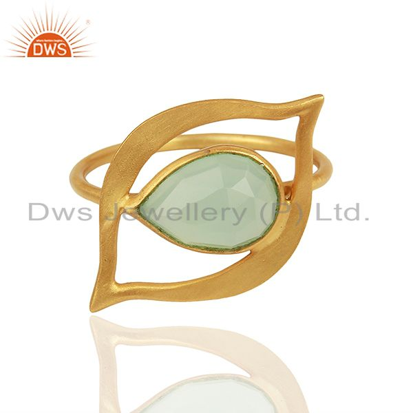 Exporter Aqua Chalcedony Evil Eye Designer Gold Plated Sterling Silver Wholesale Ring