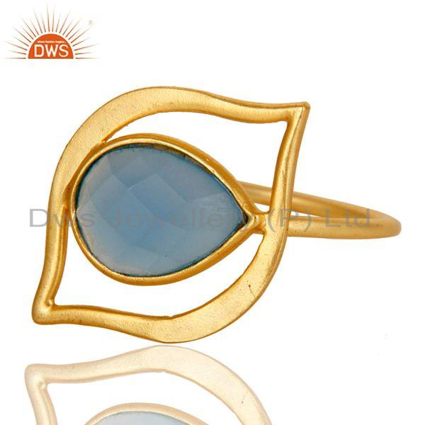 Exporter Art Deco 18K Gold Plated Sterling Silver Blue Chalcedony Designer Ring
