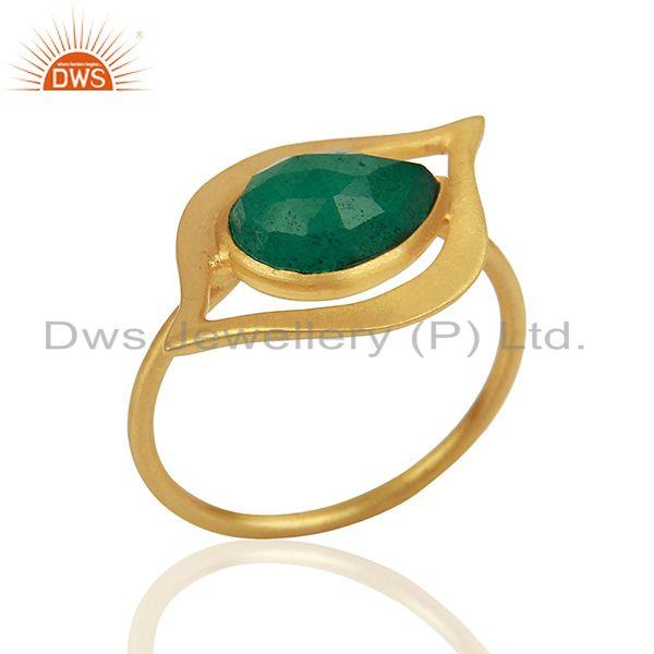 Exporter Emerald Dyed Evil Eye Designer Gold Plated Sterling Silver Wholesale Ring