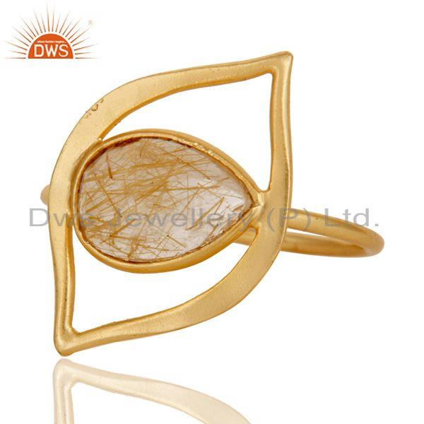 Exporter Art Deco 18K Gold Plated Sterling Silver Yellow Rutile Designer Ring