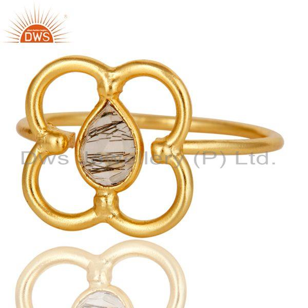 Exporter Black Rutile Art Deco 18K Gold Plated Sterling Silver Designer Ring
