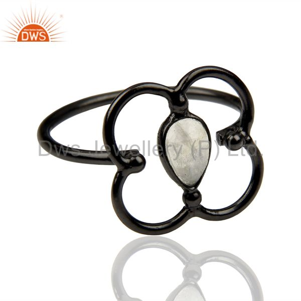 Exporter Rainbow Moonstone Stackable Black Oxidized 925 Sterling Silver Ring Jewelry