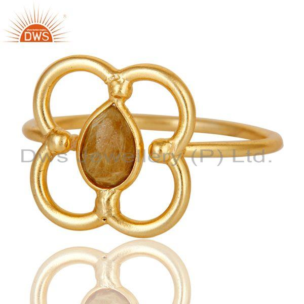 Exporter Yellow Rutile Art Deco 18K Gold Plated Sterling Silver Designer Ring