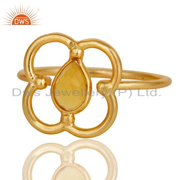 Exporter Yellow Chalcedony Art Deco 18K Gold Plated Sterling Silver Designer Ring