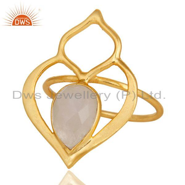 Exporter Rainbow Moonstone 18K Gold Plated Sterling Silver Art Deco Style Designer Ring