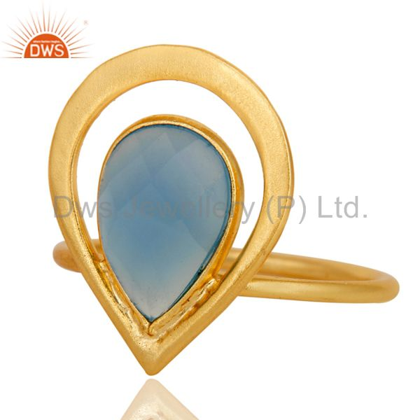 Exporter 18K Gold Plated Blue Chalcedony Sterling Silver Art Deco Style Designer Ring