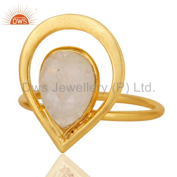 Exporter 18K Gold Plated Rainbow Moonstone Sterling Silver Art Deco Style Designer Ring
