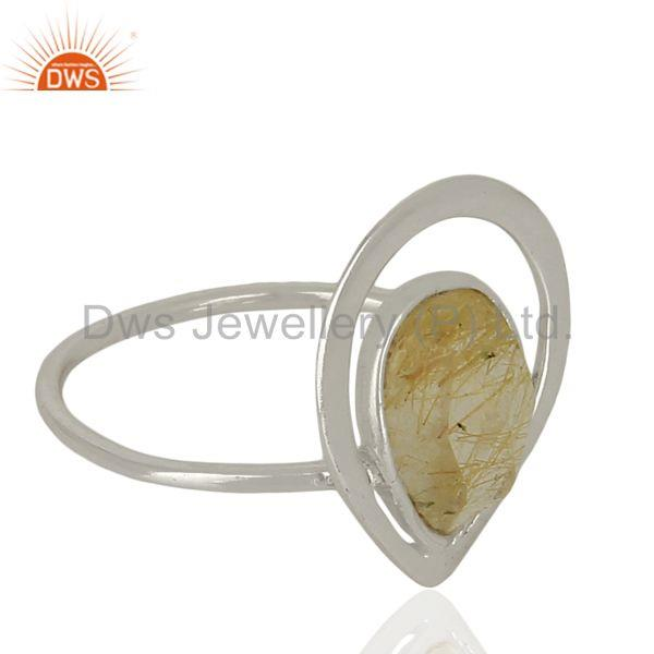 Exporter Designer 925 Sterling Silver Rutile Gemstone Ring Jewelry Supplier