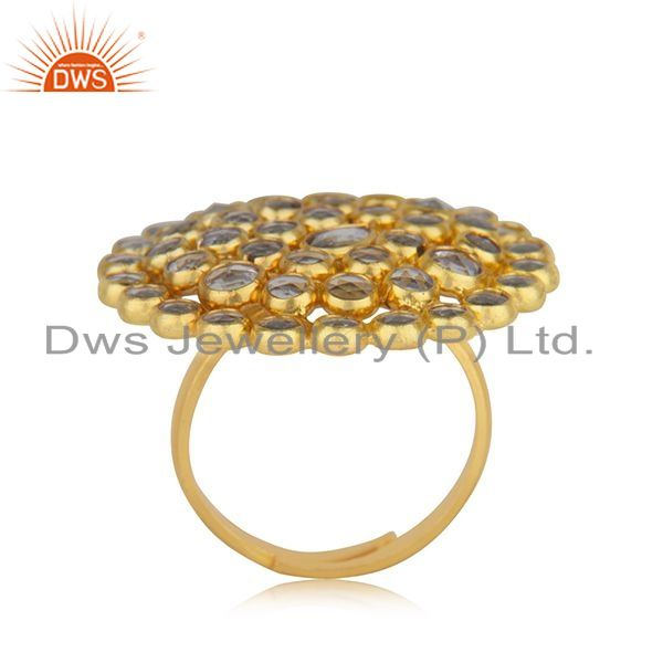 Exporter Natural CZ Beaded Gemstone Floral Gold Plated Silver Ring Jewelry