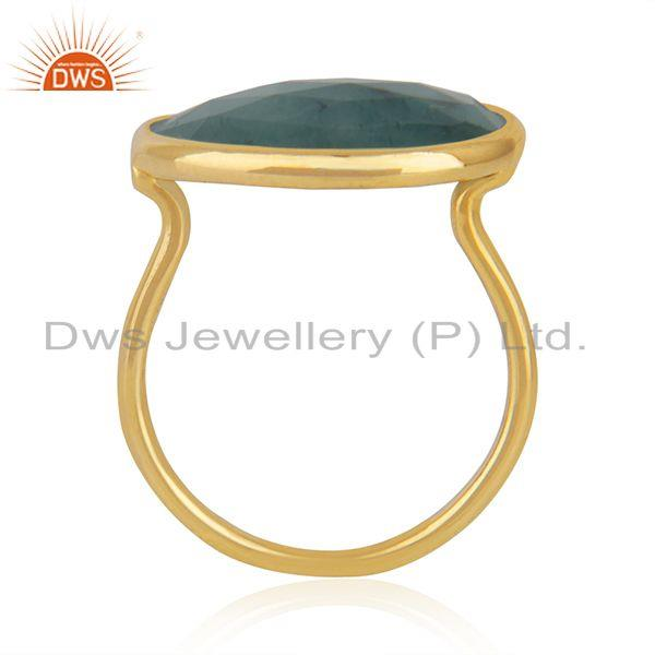 Exporter Solid 14k Yellow Gold Emerald Gemstone Handmade Ring Manufacturer in India