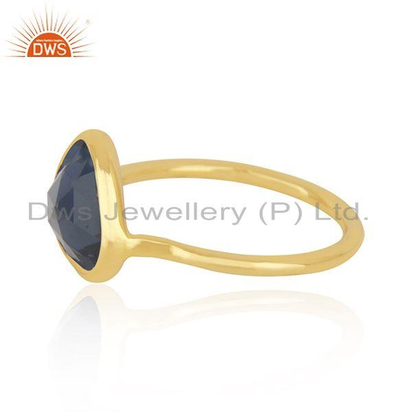 Exporter London Blue Topaz Gold Plated 925 Silver Ring Manufacturer India