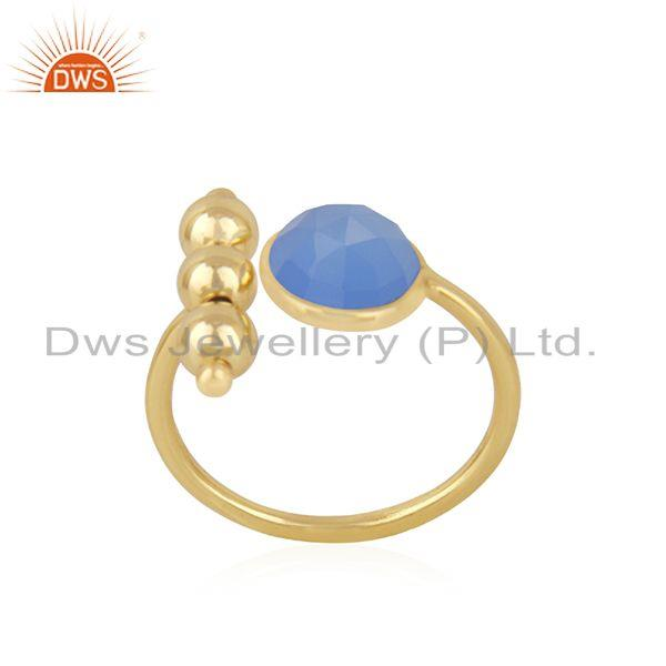 Exporter Blue Chalcedony Gemstone 925 Silver Gold Plated Designer Ring Wholesale Supplier