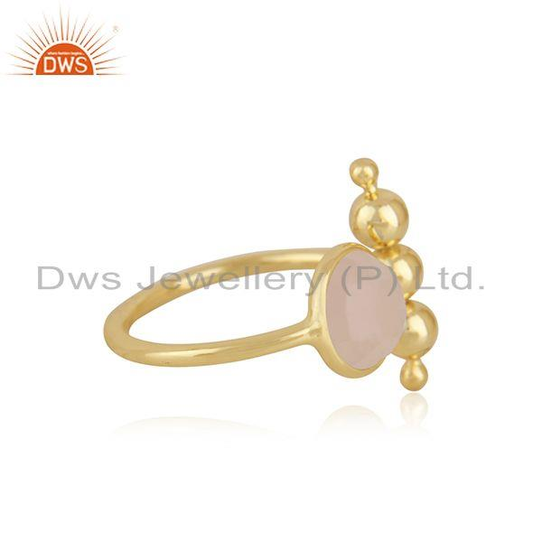 Exporter Rose Chalcedony Gemstone 925 Silver Gold Plated Designer Ring Manufacturer INdia