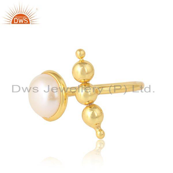 Natural pearl gemstone womens gold plated handmade silver rings