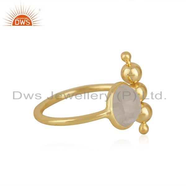 Exporter Designer Gold Plated 925 Silver Rainbow Moonstone Promise Ring Manufacturer