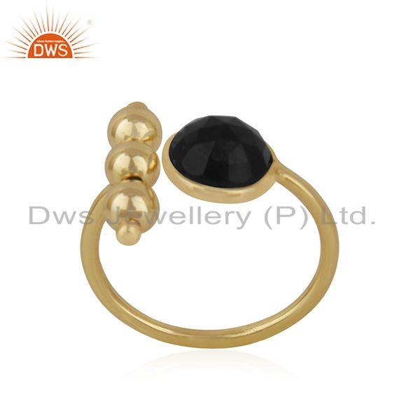 Exporter Designer 925 Silver Gold Plated Black ONyx Gemstone Fashion Ring Manufacturer