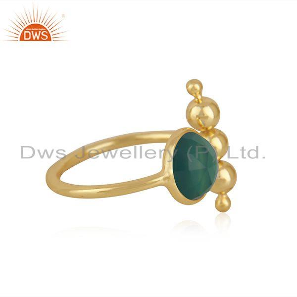 Exporter Green Onyx GEmstone Sterling Silver Gold Plated Designer Ring Manufacturer India