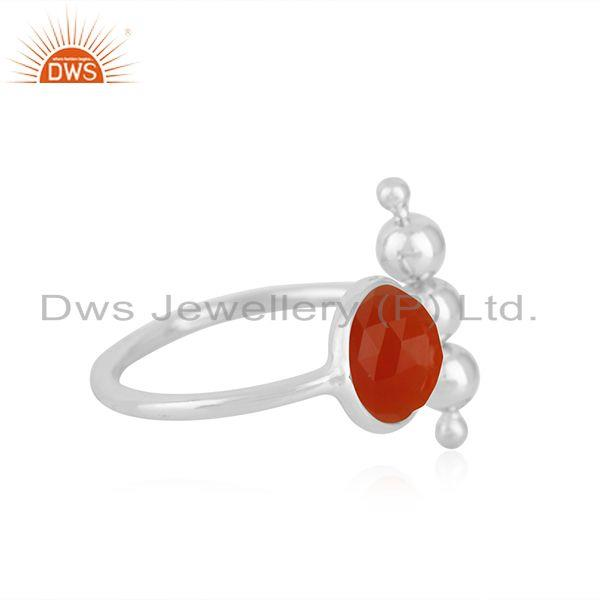 Exporter 92.5 Sterling Fine Silver Red ONyx Gemstone Trendy Ring Manufacturer India