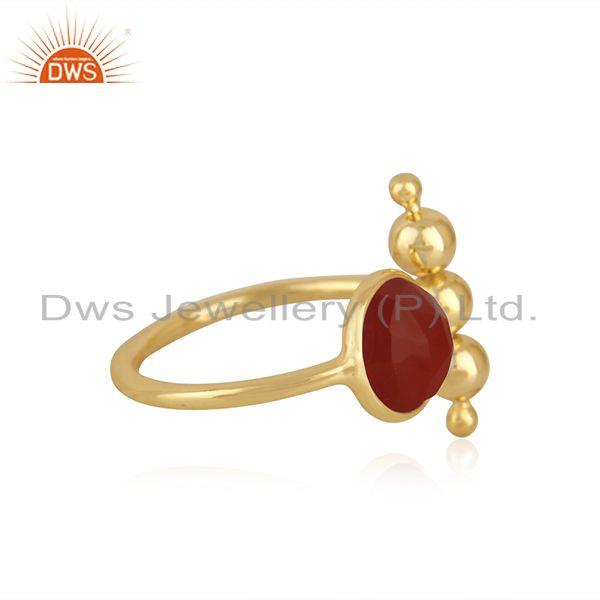 Exporter Red Onyx Gemstone 925 Silver Gold Plated Promise Ring Manufacturer INdia