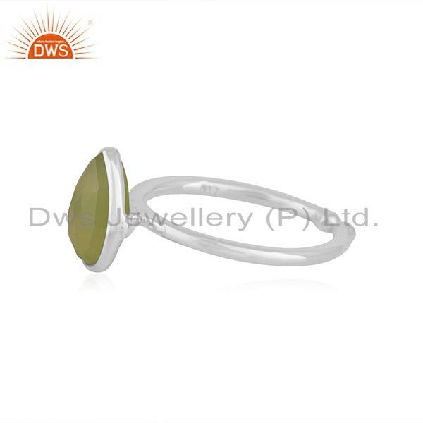Exporter Prehnite Chalcedony Gemstone Fine Sterling Silver Ring Manufacturer in Jaipur
