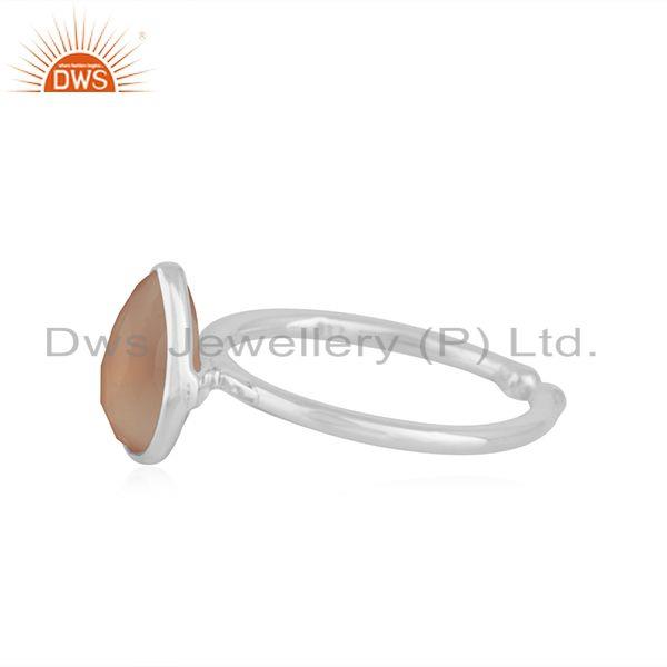 Exporter Rose Chalcedony Gemstone 925 Sterling Fine Silver Ring Manufacturers indias
