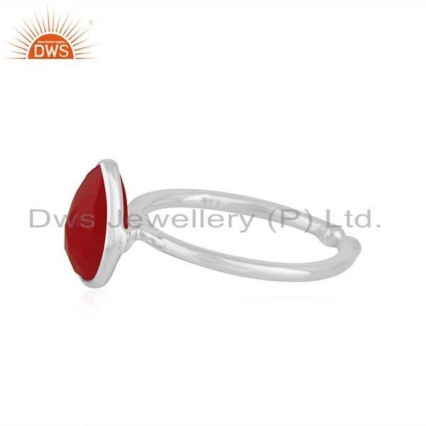 Exporter Pink Chalcedony Gemstone Fine Sterling Silver Ring Manufacturer India