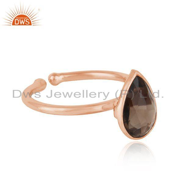 Exporter Natural Smoky Quartz Gemstone Rose Gold Plated Silver Ring Jewelry