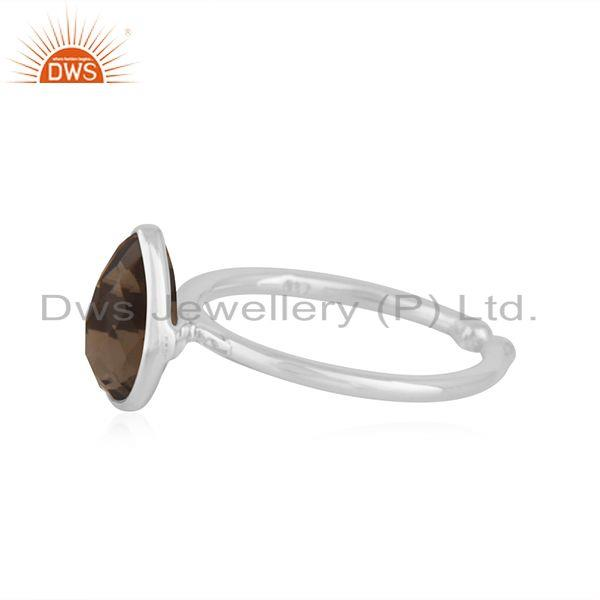 Exporter Smoky Quartz Fine Sterling Silver Handmade Customized Ring Manufacturer in India
